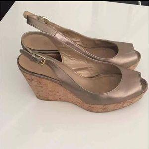 Stuart Weitzman Wedge Jean Gold heels