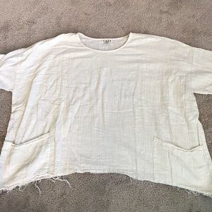 Cream White Colored Cope Cropped Tee Shirt