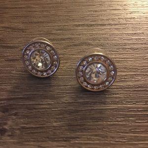 Rhinestone circle stud earrings
