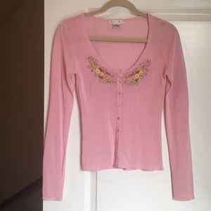 BETSEY JOHNSON ULTRA PINK CARDIGAN SMALL