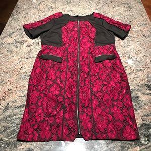 Eloquii 22 black scuba maroon lace zipper dress