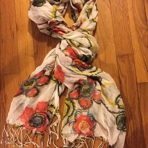 Ladies Floral Scarf with White Background Viscose