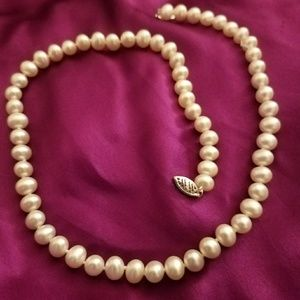 """Freshwater Cultured Pearl 14K Gold Necklace 18"""""""