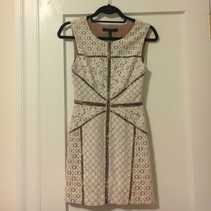 BCBGMAXAZRIA white lace dress with leopard trim