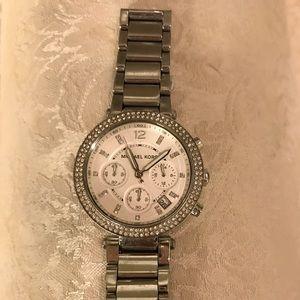 Michael Kors silver watch w/stone embellishments