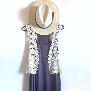 Cream crochet vest