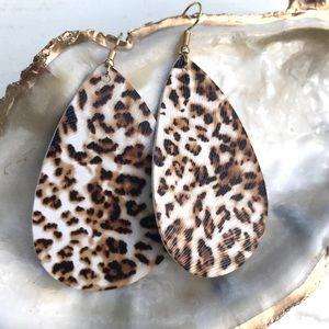 Leopard Faux Leather Teardrop Earrings