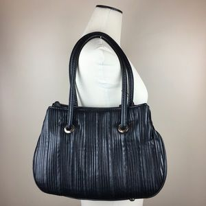 Handbags - Suede&Co Black Faux Leather Accordion Pleat Purse