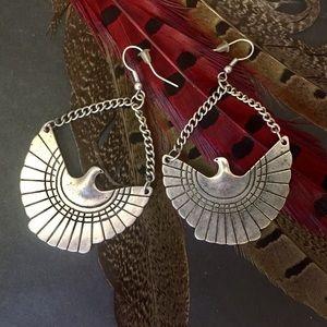 Silver Native American Thunderbird Earrings