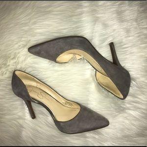 Gray suede Jessica Simpson heels in good condition
