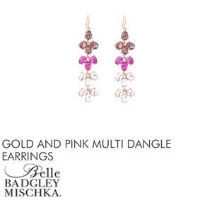 BADGLEY MISCHKA Gold + Pink Multi Dangle Earrings