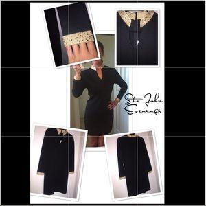 St. John's Evenings Knit 👗with Gold Jewel Collar