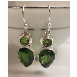 NEW! ST Silver 925 Green Peridot Earrings