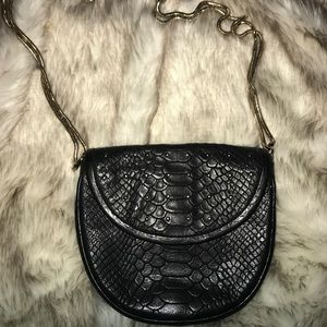 Rebecca minkoff black snakeskin mini crossbody