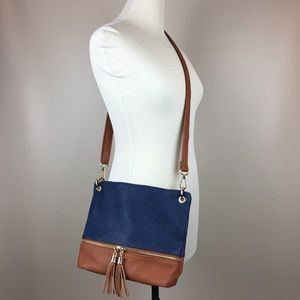 Navy & Cognac Faux Leather Tassels Crossbody Purse