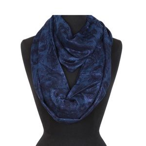Navy Metallic Infused Rosebuds Infinity Scarf