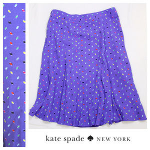 Kate Spade purple periwinkle dotted A-line skirt