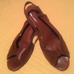 Frye slingback peep toe heels