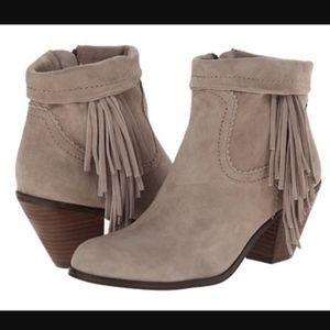 Sam Edelman Louie Fringe Ankle Boots Taupe Suede