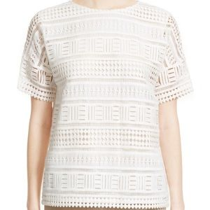 Vince Short Sleeve Cotton Lace Top