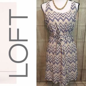••Loft•• cream & blue dress