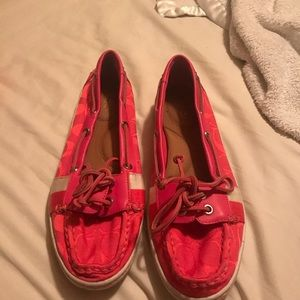 coral coach loafers