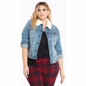 Torrid Sherpa Fur Collar Jeans Jacket Size 3 Excel