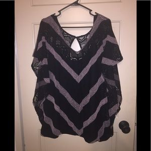 Black & Purple Woven Blouse
