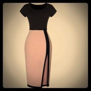 Woman's Bodycon Pink & Black Dress