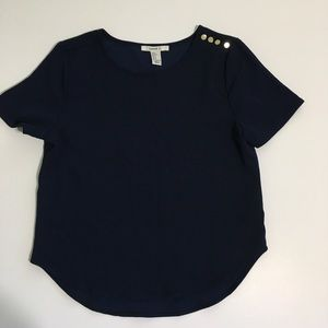 Forever 21 Navy Blue Gold Buttons Blouse