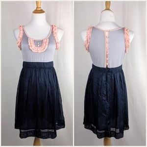 Modcloth Esley Silk Ruffle Button Back Dress M