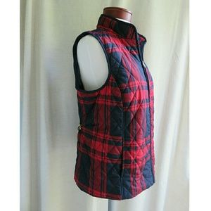 Croft & Barrow Fall Flannel Plaid Puffer Vest Med