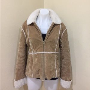 Tan patchwork jacket size L juniors