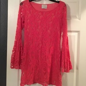 Lace coral dress with flare sleeve