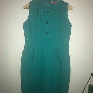 Teal cocktail dress with bow