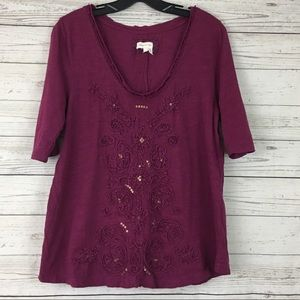 Meadow Rue embroidered sequin top