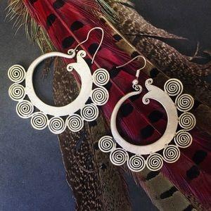 Silver Spiral Garden Earrings