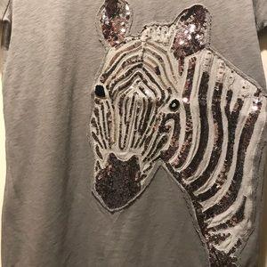 👚J. Crew stunning zebra bling-bling tee