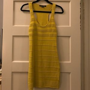 Bright yellow bodycon racerback knit party dress
