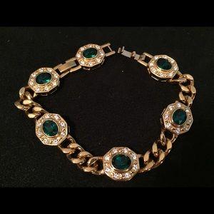 Gold Tone Jackie Kennedy Inspired Emerald Bracelet
