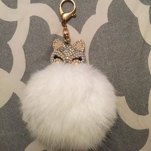 White fur rhinestone fox head keychain