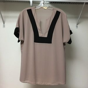 Eden in Love -rose-mauve/black trim top, Small