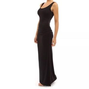 Extra long black bodycon dress stretch fitted slit