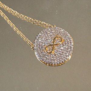 "14k infinity necklace with diamond encrusted ""CZ"""