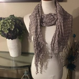 Gray scarf with white polka dots
