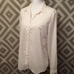 J. Crew Pink & White Anchor Button Down Shirt!