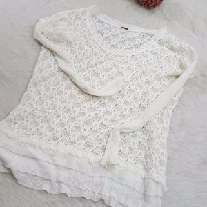 Free People Loose Fit Slouchy Crochet Sweater