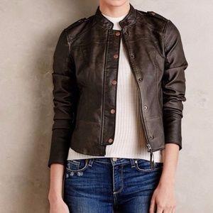 Anthropologie Hei Hei Vegan Leather Bomber Jacket