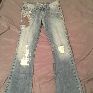 Abercrombie & Fitch embroidered flare jeans