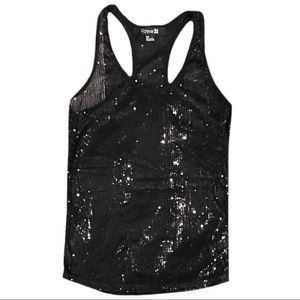 Forever 21 Black Sequined Tank Top